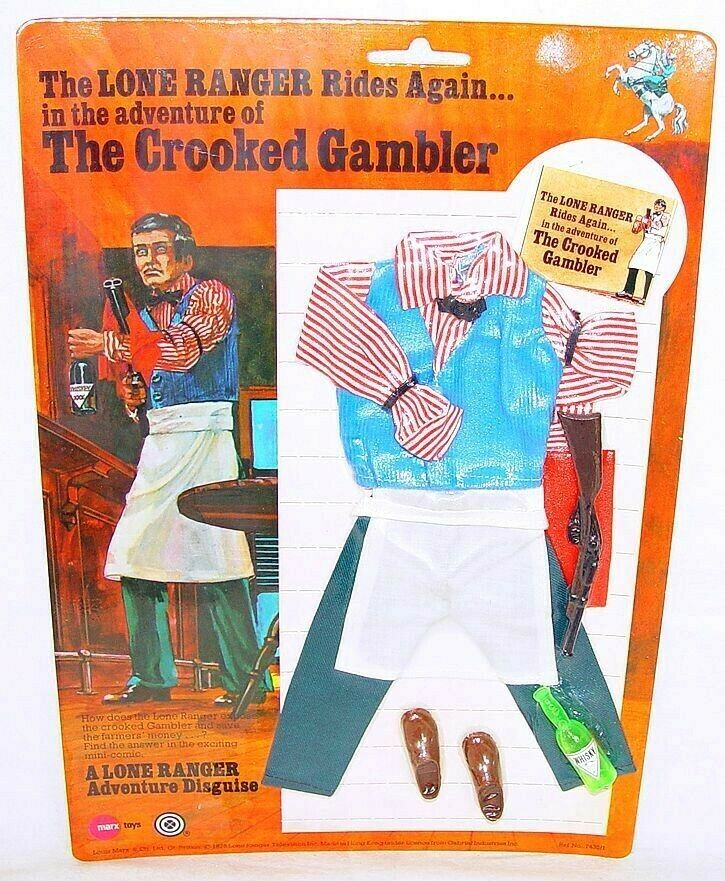 Gabriel Marx Toys THE LONE RANGER  THE CROOKED GAMBLER  Figure OUTFIT MOC`75 TOP