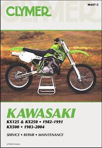 kawasaki kx 125 250 500 kx125 kx250 kx500 clymer repair manual m447 rh ebay com 1977 Kawasaki 125 1977 Kawasaki 125