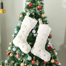 White Stock Show 8.7 Christmas Stockings White Faux Fur Fashion Xmas Stocking Christmas Tree Hanging Ornaments Small-Size Xmas Gift Bags for Christmas Decoration Fireplace Decor Set of 2