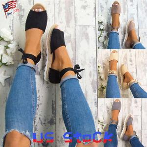 Women-039-s-Ankle-Lace-Tie-Up-Espadrilles-Sandals-Peep-Toe-Flatform-Party-Shoes-US