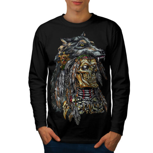 Wellcoda Wolf Metal Death Skull Mens Long Sleeve T-shirt Skull Graphic Design