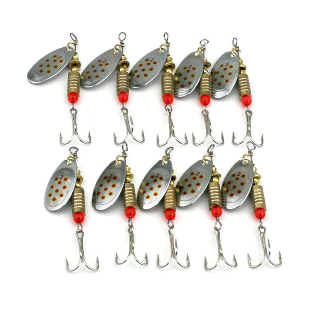 10 Pcs Metal Fishing Baits Metal Spinner Lures Hook Fishing Gears Tool 6.3cm·q