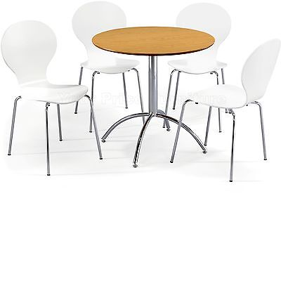 Dining Set Round Natural Table and 4 White Chairs Chrome Keeler Kitchen Cafe