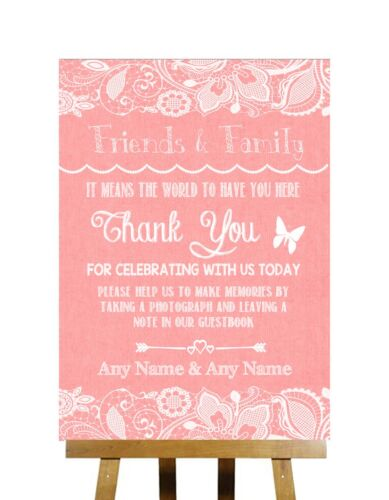 Coral Burlap /& Lace Effect Thank You Guestbook Personalised Wedding Sign
