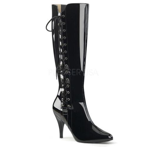 Black Lace Up Fetish Knee High Boots Mens Drag Queen Crossdresser Shoes Womans