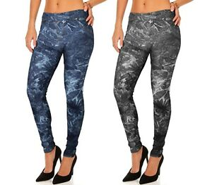 HO-1610-Set-2-leggings-stile-denim-mod-Alisya-con-trama-floreale-e-tasche