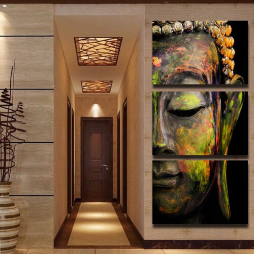 Canvas Print Framed Home Decor Wall Art Pictures Modern 3 Panel Buddha Painting