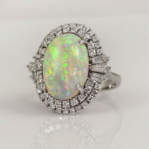 Sterling Silver 3 Opal Oval Fashion Ring