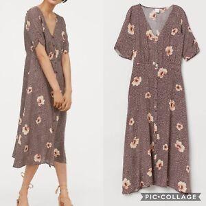 H-amp-M-Brown-Floral-Button-Up-Midi-Dress-UK10-Tea-Dress-Blogger-Fav