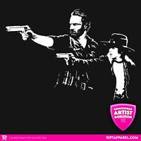 Walking Dead Rick Carl Grimes Walkers Pulp Fiction Womens (jrs) T-shirt S-xl