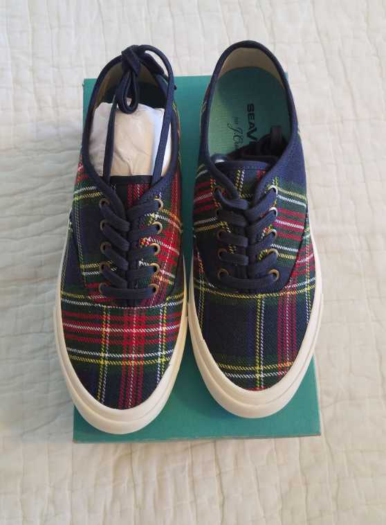 NEW IN BOX WOMEN'S 8.5 9 SEAVEES FOR J CREW LEGEND SNEAKERS IN TARTAN PLAID SHOE