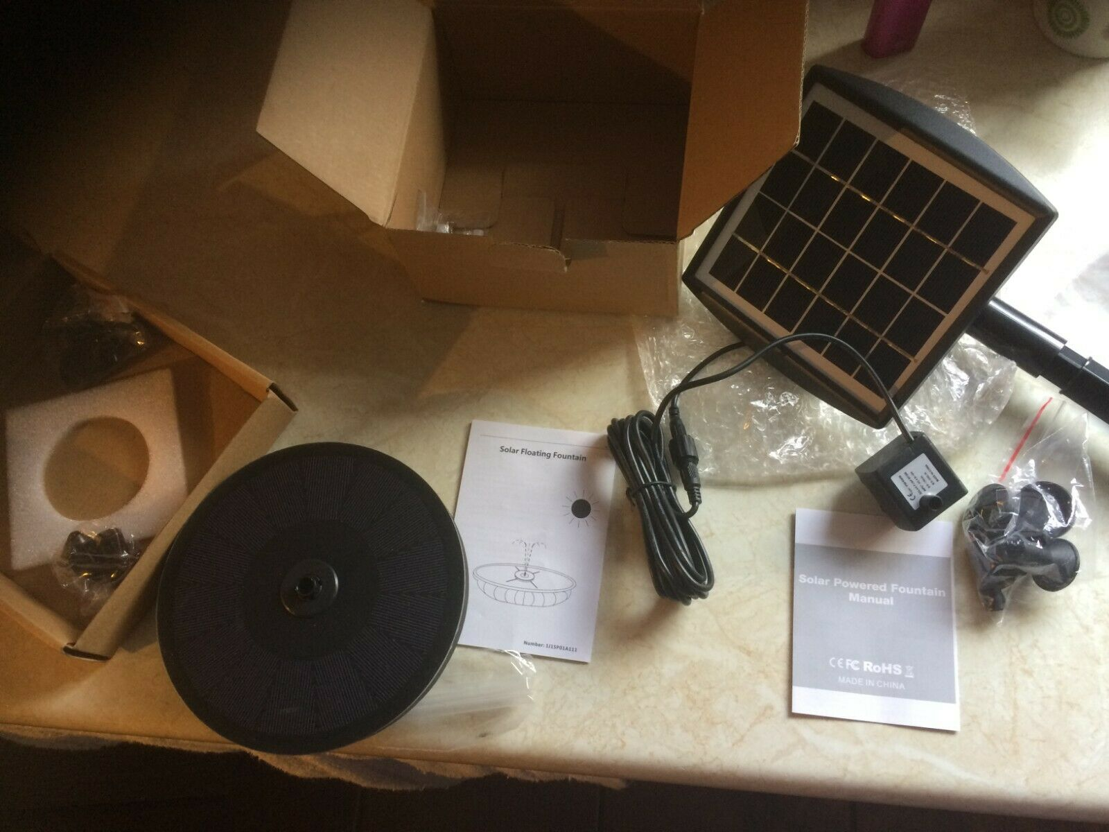 2 Solar Pump Water feature Fountains, new, price for both not each, job lot
