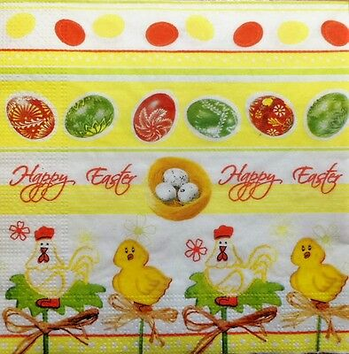 4 X PAPER NAPKINS happy EASTER  EGGS  YELLOW CHICKEN  DECOUPAGE  CRAFTING   W6