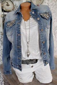 new product 16a94 88060 Details zu ♥ 11 Farben Jeansjacke Strass Perlen Jacke ARTIKELBESCHR  BEACHTEN! 34-42 *150