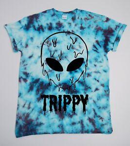 Trippy-Alien-Tie-Dye-T-Shirt-UNISEX-Festival-Grunge-Metal-Emo-Hipster-Summer-420