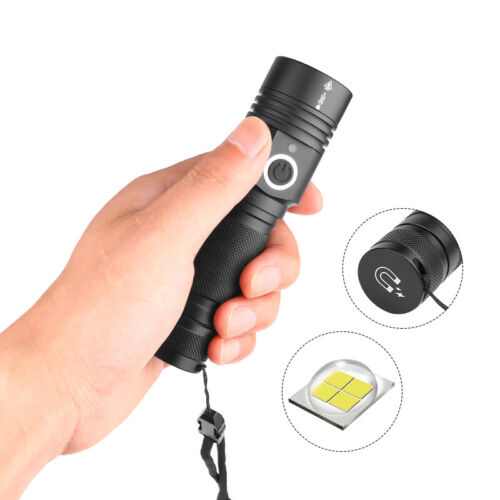 Flashlight Bright XHP50.2 LED Torch USB Rechargeable Zoomable LED Light Outd KQ