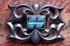 Vtg Sterling Silver Cast Hand Made Native American Turquoise Western Belt Buckle