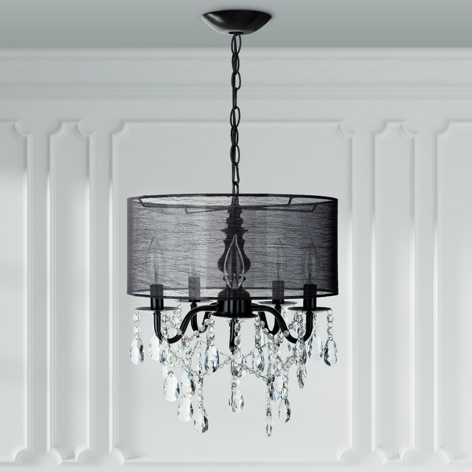 5 Light Silver Crystal Plug In Chandelier with Shade