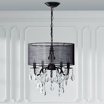5 Light Black Crystal Chandelier With Drum Shade Plug In Lighting Fixture Lamp 705911575738 Ebay