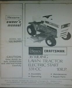 sears craftsman lt 10 lawn tractor 36 mower owner parts manual rh ebay co uk Craftsman Tractor Manual PDF Craftsman Lawn Mower Owners Manual