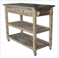 Kitchen Island Storage Utility Cart Rolling Wood Cabinet Portable Rustic Mobile