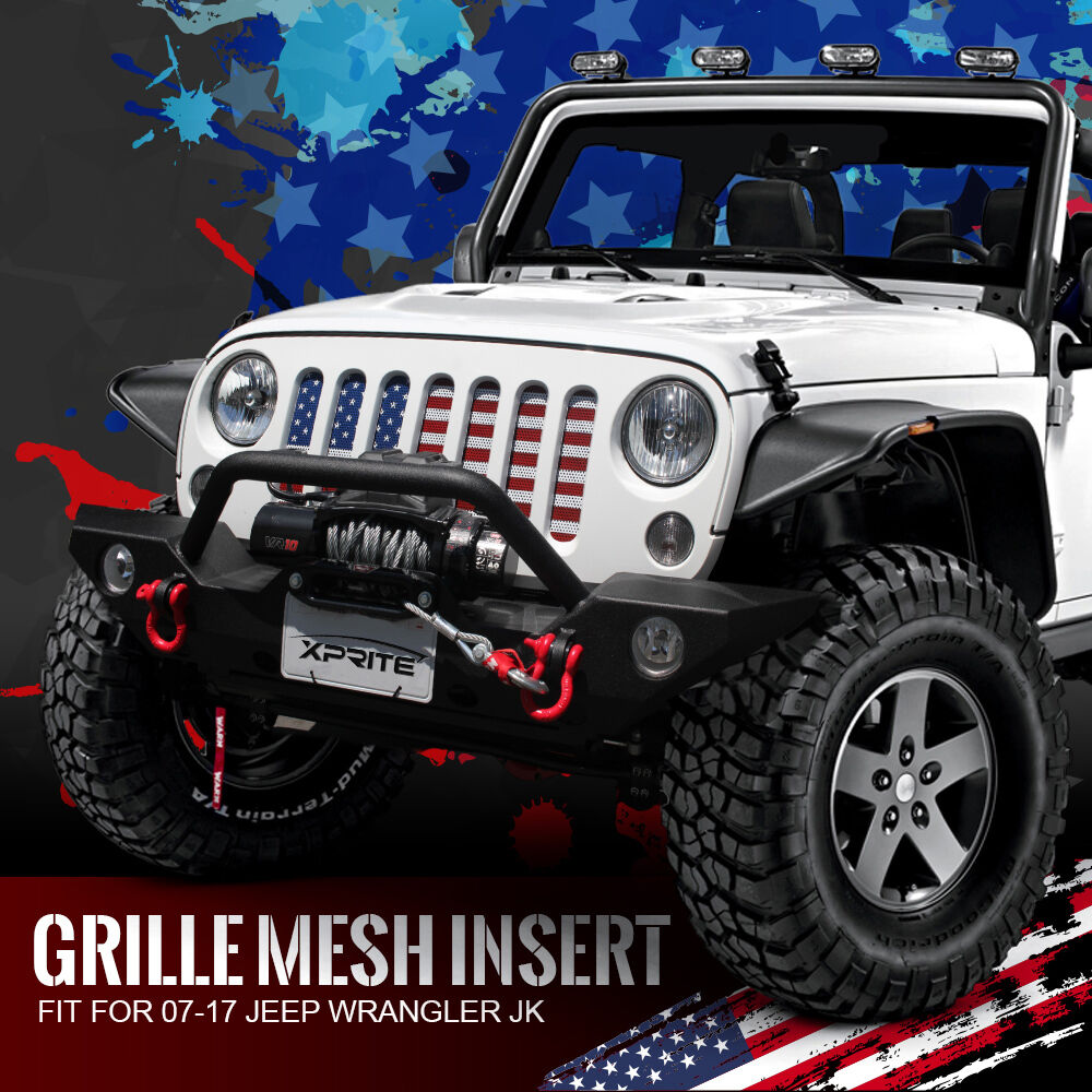Front Steel Usa Flag Mesh Grille Insert 2007 2018 Jeep Jk Jku