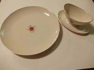 Lenox ROSELYN X304 Gravy Boat and Round Chop Plate Serving Platter