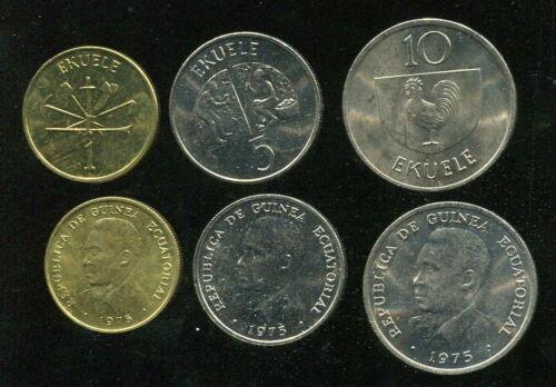 Equatorial Guinea set of 3 coins 1975 UNC