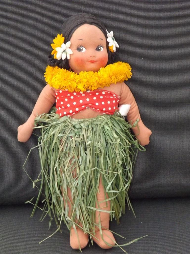 591ms Georgene Averill 33cm Hawaii Marrone Panno Girl Tutti Originale