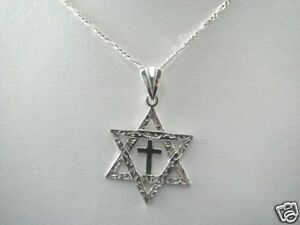 Mens sterling silver messianic star of david cross necklace image is loading men 039 s sterling silver messianic star of aloadofball