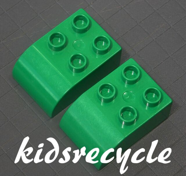 Lego DUPLO Green 2x3 Curved Bricks BLOCKS (2 pieces) Part 2302 (Pick-up Welcome)