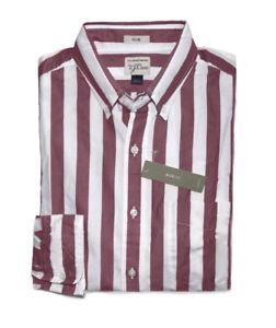 J.Crew Mens M Slim Fit NWT Citrus Orange//Blue Striped Secret Wash Shirt