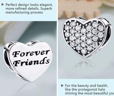 New Silver Plated HEART STONE BEST FRIENDS LOVE Heart Charm 4 European BRACELETS