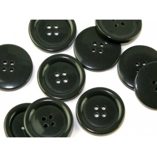 6 x Black Coat jacket 4 Hole Buttons 15mm to 38mm Blazer Raincoat