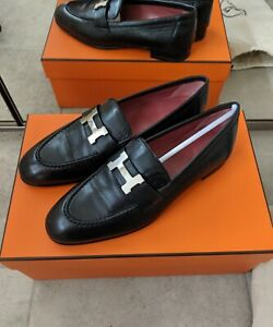 Authentic-brand-new-Hermes-Paris-silver-H-logo-blk-loafer-size-36-with-receipt
