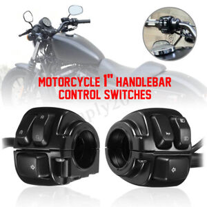 2 Black Motorcycle 1'' Handlebar Control Switches & Wiring Harness on