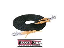 Black Weaver 10 FT Poly Roper Tack Horse Rein Brown Leather Water Loop Ends