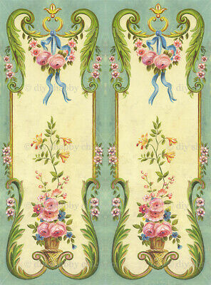 Furniture Decal Vintage Image Transfer 2 panels Upcycle Shabby Chic Antique Diy