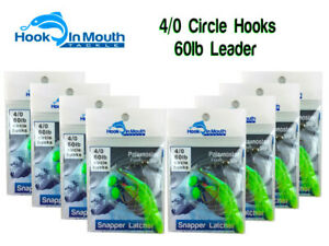 8x Snapper Rigs 60lb Leader Rig 5//0 Octopus Circle Hook Flasher Rig Paternoster