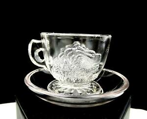 EAPG-GILLINDER-AND-SONS-LION-HEAD-CLEAR-1-3-4-034-CHILD-039-S-CUP-AND-SAUCER-1877-1900