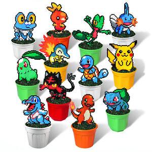 12 Starters Pokemon Figures In Plant Pots Rare Pixel Art Beads