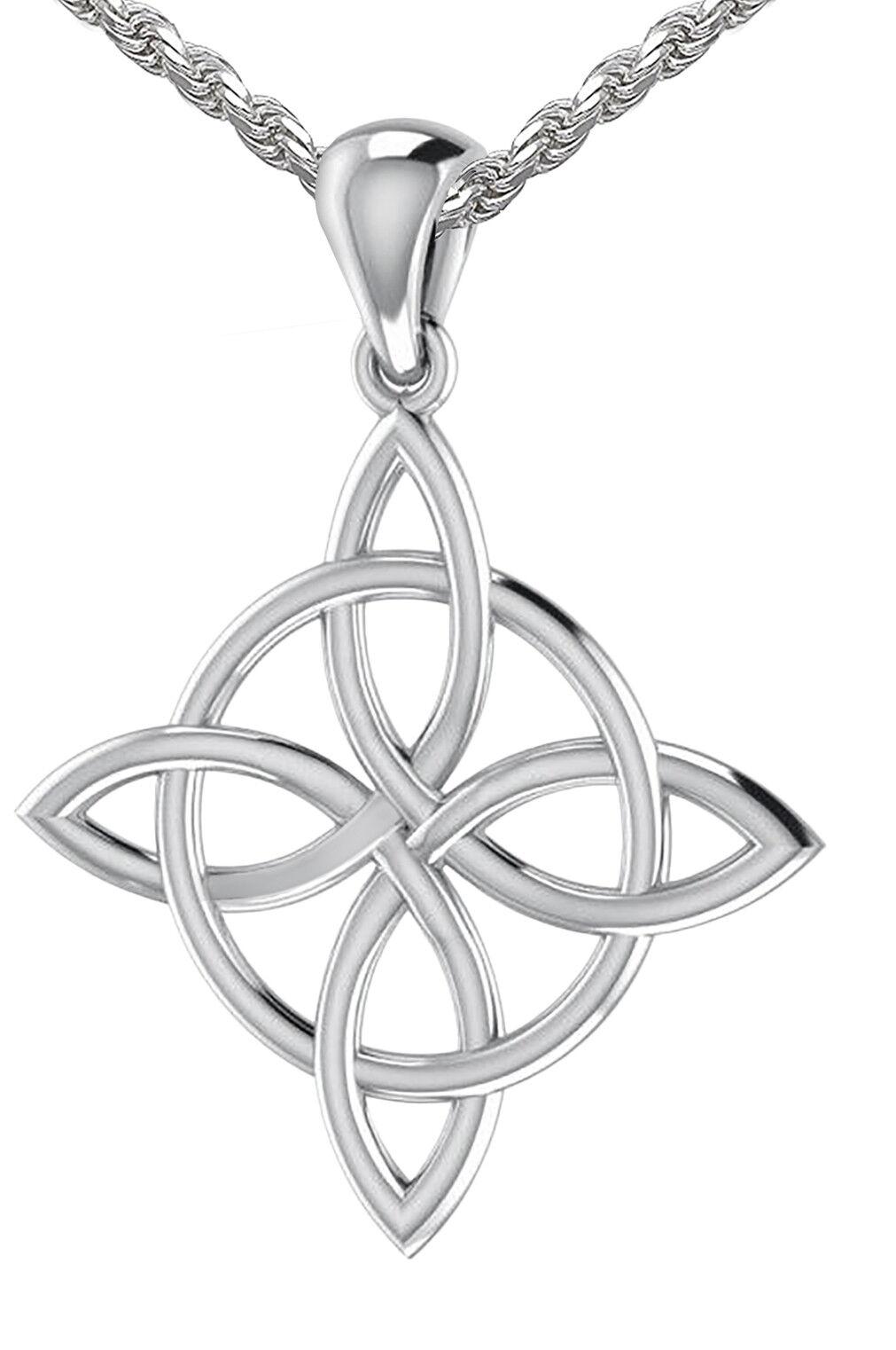 Neu Silbern /& Roségold Irisch Celtic Dreiheitsknoten Herz Halskette Schmuck