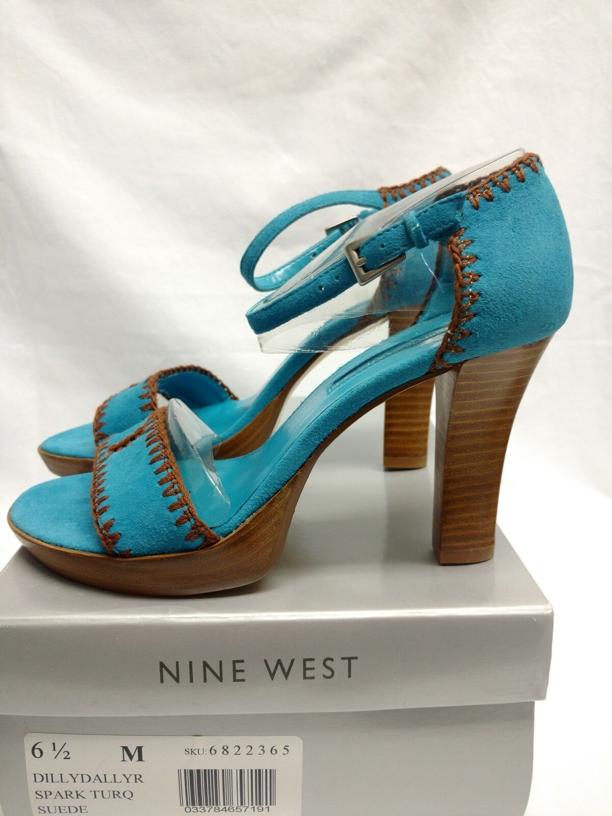 Womens Nine West Turqoise bluee Brown Stitch Suede Strappy Wooden Heels Size 6.5