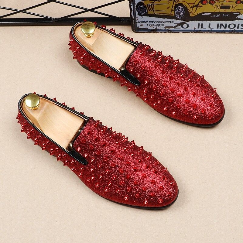 Fashion men's spike pointy toe studded rivet loafers casual dress shoes oxfords