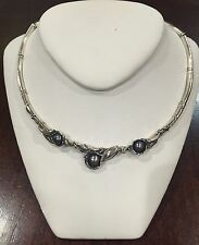 Hagit Gorali Sterling Silver Black Pearl Necklace choker #1272