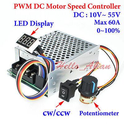 DC 9V 12V 24V 48V 60V 20A Reversible Motor Speed Controller Regulator Driver PWM
