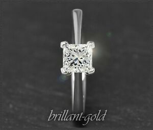 Diamant-Gold-Solitaer-Ring-0-76ct-Prinzess-in-Top-Wesselton-amp-Si-585-Weissgold