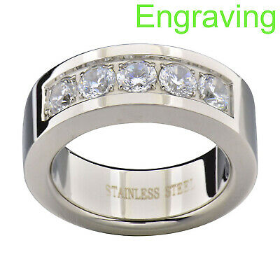 Stainless Steel Polish Finished Grooved Ridge Edge Flat Band Ring with Clear CZ