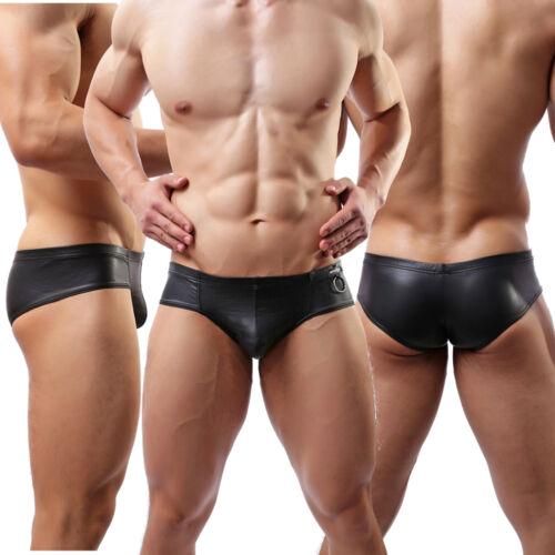 Mens Lingerie Faux Leather Look Boxer Briefs Bikini Shorts Underwear Underpants