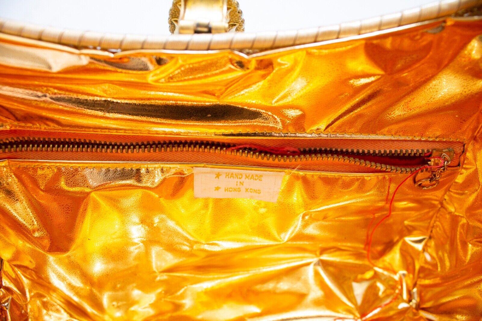 Vintage Basket Purse 1960s Gold Metal Woven Wicke… - image 9